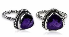 5ct Triangle Purple Amethyst Twisted Band 925 Sterling Silver Ring Sz 6 7 8