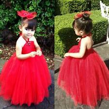 Girls Princess Tulle Dress Kids Party Pageant Wedding Bridesmaid Tutu Dress 2-7T