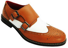 Giovanni Wk0098a2 Men's Tan And White Buckle Two Tone Wingtip Monk Brogues New