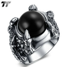 Quality TT 316L Stainless Steel Dragon Claw Black Onyx Ring Size 7-13 (RZ137)