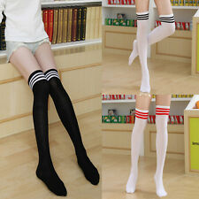 New Soft Women Soccer Hockey Rugby Sport Striped Knee High Football Socks