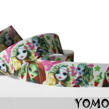 "7/8""22mm Green Monster High Printed grosgrain ribbon 10yards hairbow Wholesale"