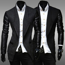 Mens Casual Medium Suit Trench Coat Single Breasted Slim Fit Jacket Blazer