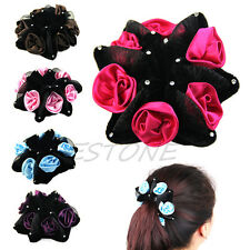 FLOWER BUN RING HAIR SCRUNCHIE ELASTIC GARLAND BAND ROSE FESTIVAL Bridal DANCE