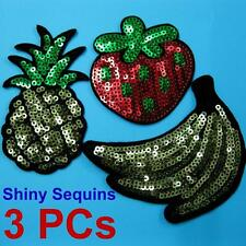3 Patch Sequins Sew on Patch Applique Badge Embroidered Fruit Banana Strawberry
