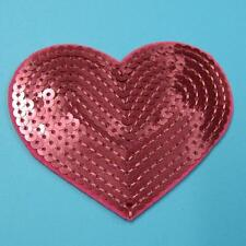 Sequin Heart Love Iron on Sew Patch Applique Badge Embroidered Biker Motor Women