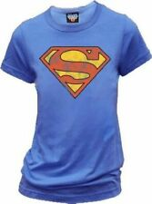 Classic DC Comics Superman Distressed Logo Blueberry Ladies/Juniors T-shirt Tee