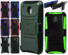 For AT&T HTC ONE MINI Combo Holster HYBRID KICKSTAND Rubber Case +Screen Guard