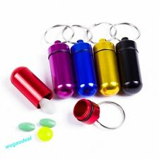 Aluminum Waterproof Pill Box Bottle Case Cache Drug Key-chain Container Holder