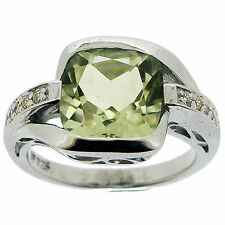 .925 Sterling Silver 4.60 Ct Natural Green Amethyst & White CZ Ring