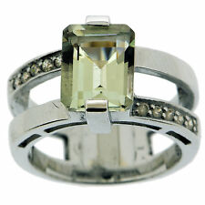 .925 Sterling Silver 3.25 Ct Natural Green Amethyst & White CZ Ring