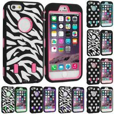 For iPhone 6 PLUS Hybrid Cover Case With Built Screen Protector Polka Dot Zebra