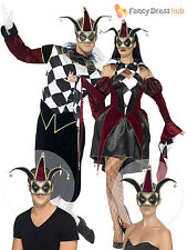 Mens Ladies Harlequin + Jester Cotume Gothic Circus Halloween Fancy Dress Couple