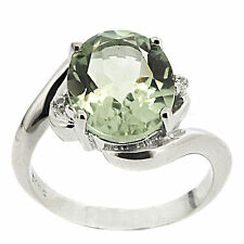 925 Sterling Silver 4.30 ct Natural Green Amethyst & White CZ Ring