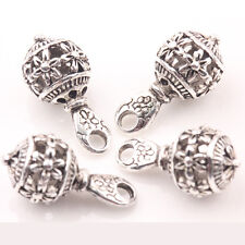 10/20Pcs Tibet Silver Carving Flower Round Beads Hollow Charm Pendant 20*10mm