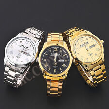 Classic Mens Gold Plated/Silver Quartz Crystal Decor Dial Day Date Wrist Watch