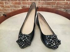 Nine West Orysia Black Leather Jeweled Star Toe Ballet Flats NEW