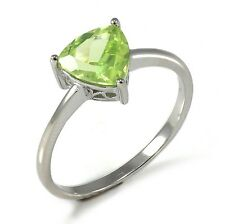 1.3ct Natural Peridot Solitaire Ring Solid 925 Sterling Silver Women Fshion