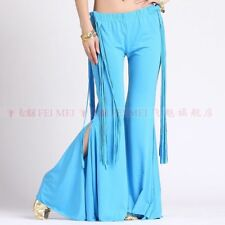 Tribal Belly Dance costume trousers yoga flared pants leg opening with fringes