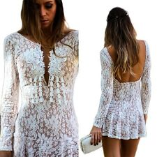 Sexy Women Backless Lace Sheer Floral Crochet Bodycon Cocktail Party Mini Dress