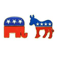 DEMOCRATIC DONKEY REPUBLICAN ELEPHANT PIN Political Party Metal 2016 ELECTION