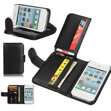 Magnetic Wallet Leather Card Holder Pouch Case Stand For iPhone4 4S 5 5S 6 6Plus