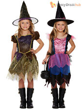 Age 4-8 Girls Witch Costume + Hat Halloween Witches Fancy Dress Party Kids Child