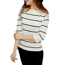 Women Boat Neck 3/4 Sleeves Low High Hem Stripe Knit Shirt