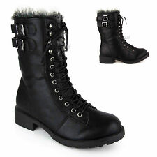 LADIES WOMENS COMBAT ARMY MILITARY LACE UP LOW HEEL FUR WINTER ANKLE BOOTS SIZE