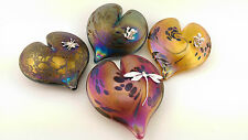 Neo Art Glass heart paperweight sterling silver fairy, frog, spider by K.Heaton