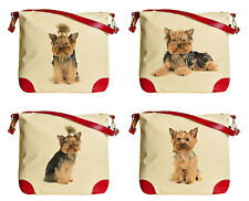 Yorkshire Terrier Printed Canvas Leather Trap Tote Shoulder Bag WAS_33