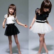 2-7Y Tutu Lace Princess Dress Baby Girls Flower Formal Party Gown One-Piece Suit