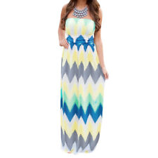 Ladies Zig Zag Pattern Strapless Contrast Color Empire Waist Maxi Dress