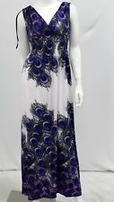 New Plus Women White Peacock Print Sleeveless Smoked Long Maxi Dress Medium