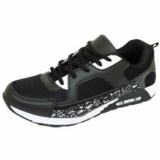 MENS BOYS RUNNING TRAINERS BLACK SNAKE LACE GYM SPORTS CASUAL SHOES SIZE 6-11