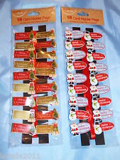 CHRISTMAS PACK 18 NOVELTY CARD HOLDER PEGS TRADITIONAL CUTE DECORATIONS RIBBON