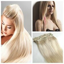 Full Head Clips In On 100% Remy Human Hair Extensions Light Blonde #60 7/8/9pcs