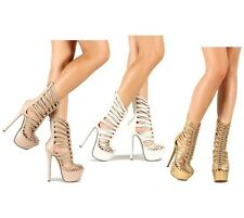 Gold Nude White Mid-calf Boots Strappy Platform Pump Women's Stiletto Heels