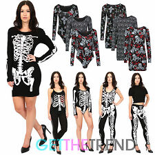 Womens Halloween Fancy Dress Skeleton Print Tunic Dress Leotard Jumpsuit Legging