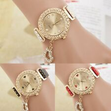 Fashion Women Leather Bangle Bracelet Crystal Dial Quartz Analog Wrist Watch