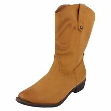 LADIES SPOT ON TAN COWBOY MID CALF BOOT WITH CUBAN HEEL STYLE - F50170