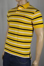 Polo Ralph Lauren Yellow Navy Striped Custom Fit Mesh Shirt Red Pony NWT