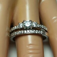 Sterling Silver Wedding set size 9 CZ Round cut Engagement Ring Bridal New z01