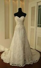 New Lace white/ivory Wedding Dresses Gown Bride Dress Stock Size 6-8-10-12-14-16