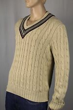 Polo Ralph Lauren Cream Cricket V-Neck Linen Sweater NWT $225