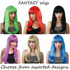 WICKED - Long FANTASY Wig Fancy Dress Accessory - Assorted Colours