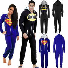 Mens Womens Unisex Batman Superman Hoodies Jumpsuit Onesie Playsuit All In One
