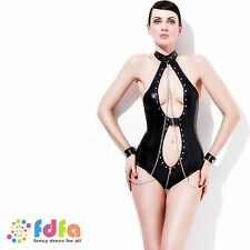SEXY FEVER MISTRESS BODYSUIT CHAINS - 8-18 - womens ladies fancy dress costume