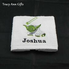 PERSONALISED YODA STAR WARS WHITE FACE CLOTHS/FLANNELS & TOWELS 100% COTTON