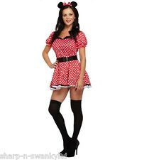 Ladies Red Missy Minnie Mouse Fancy Dress Party Costume Outfit STD & Plus Size